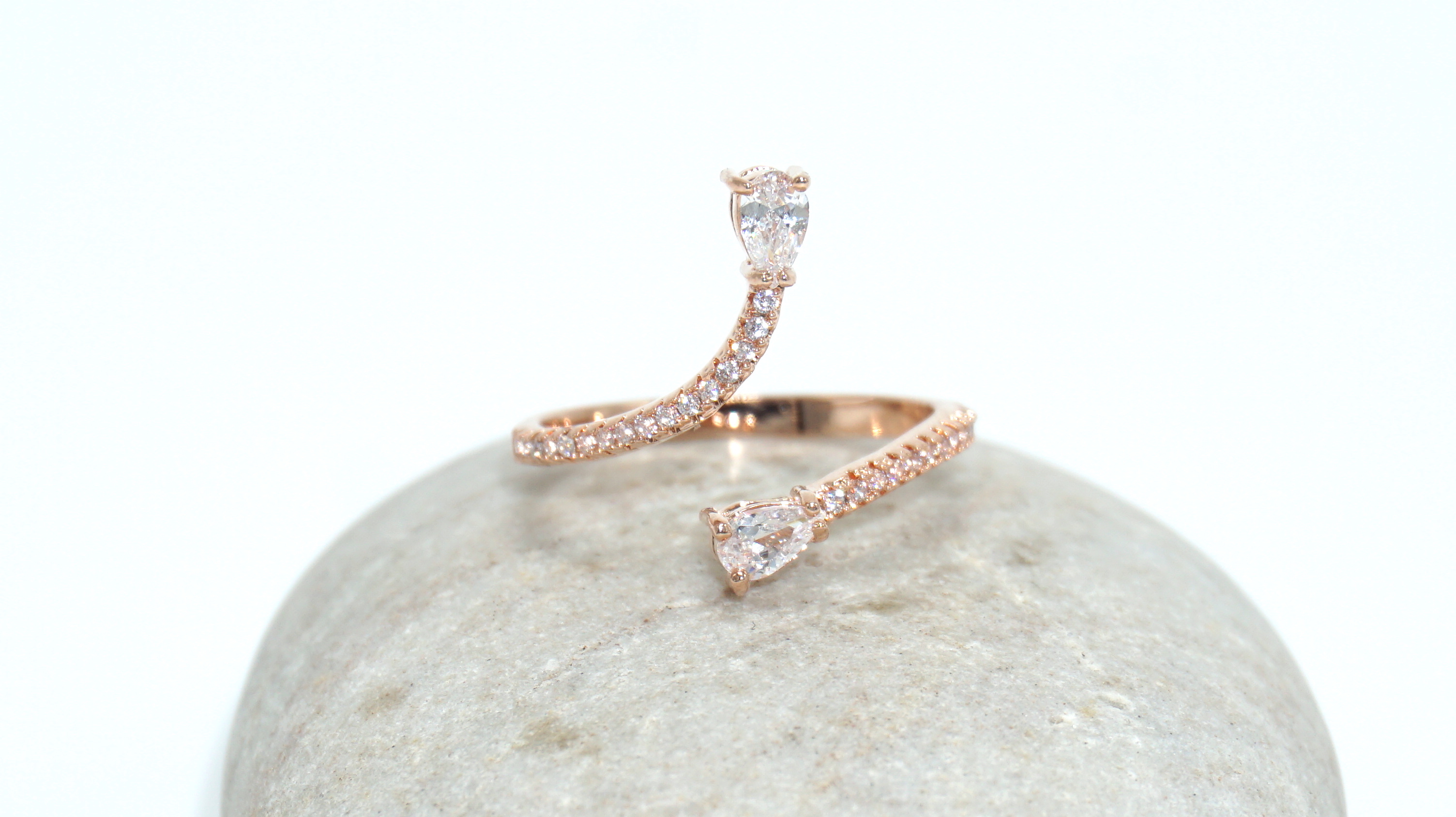 Spiral Drop Ring (Rose Gold)