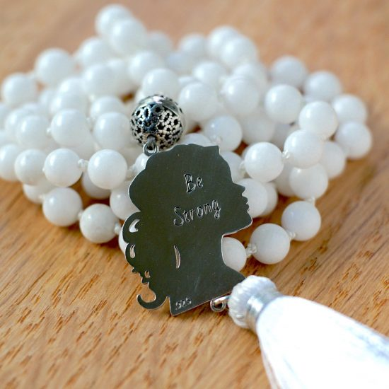 Be Strong White Jade Mala