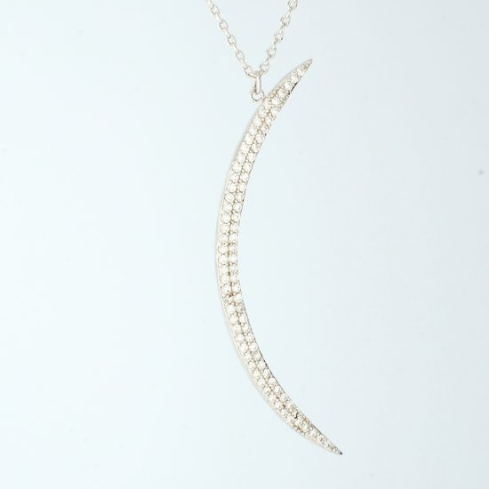 Crescent Moon Necklace (Silver)