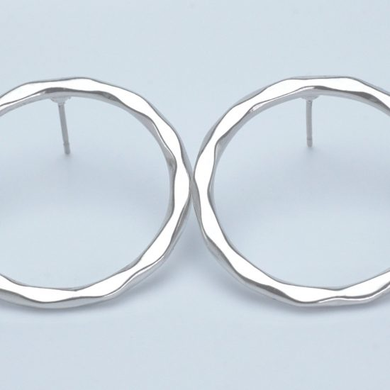 Flat Hoop Earrings (Silver)