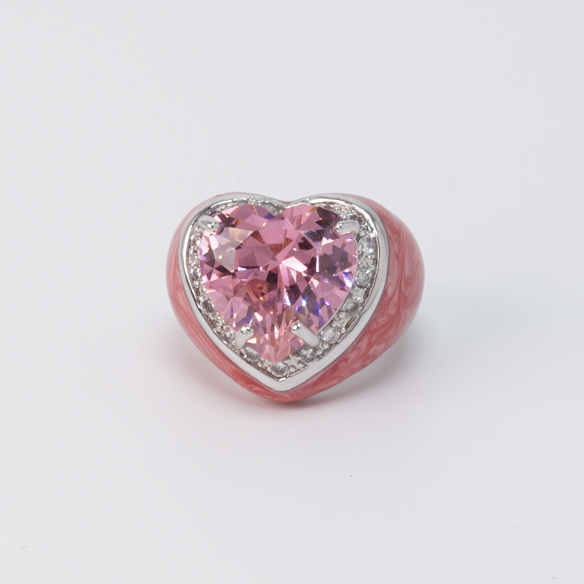 Pink Heart Ring front