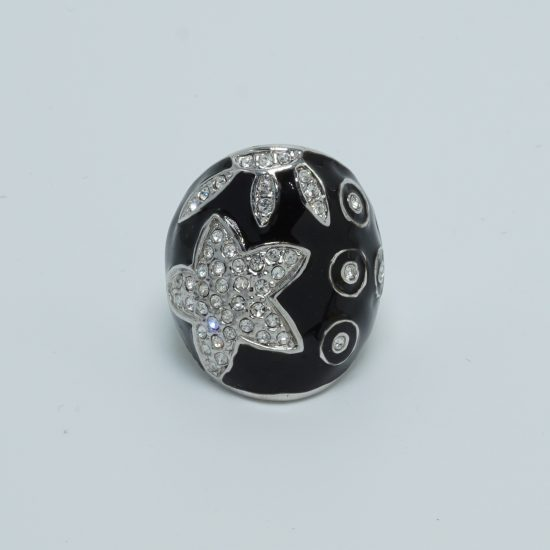 shell star flat ring black front