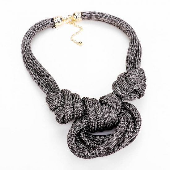 Grey Fabric Knot Necklace