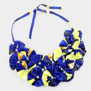 Blue Gold Fabric Necklace