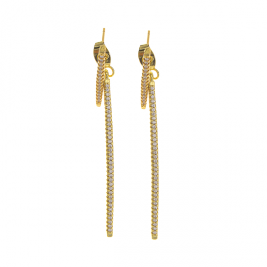 Crystal Stone Bar Earring Gold