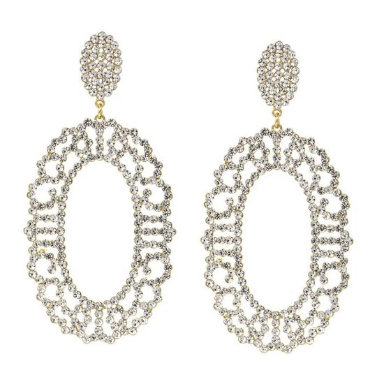 Lace Cutout Oval Hoops Earrings