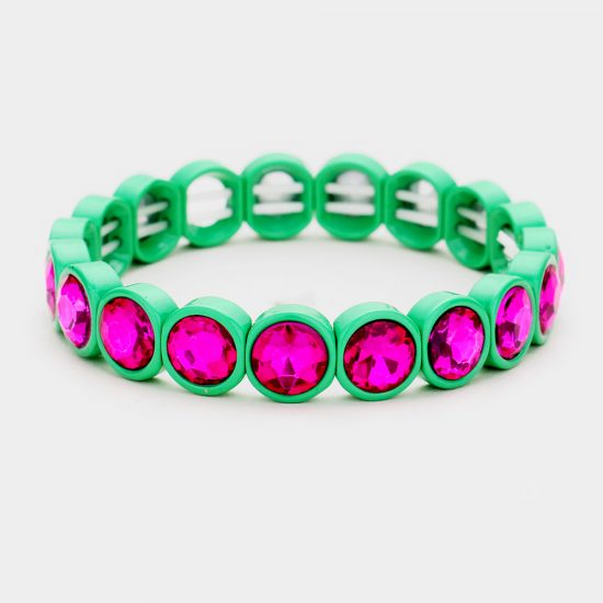 Pink Green Crystal Stretch Bracelet