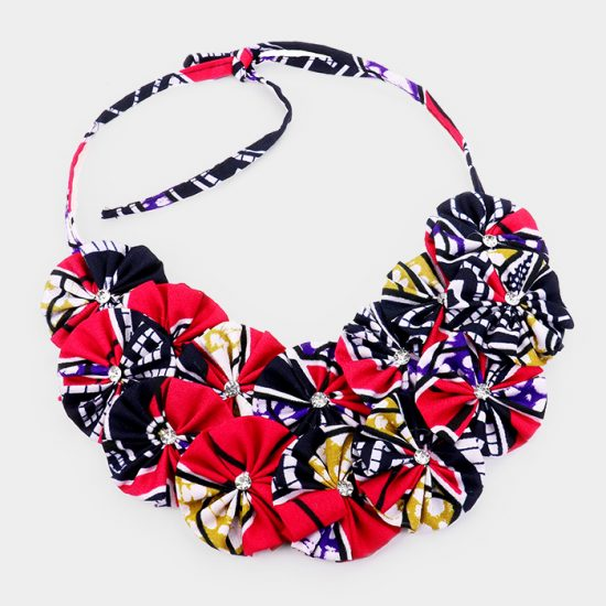 Red Black Fabric Necklace