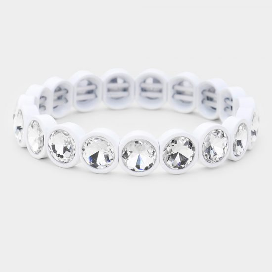 White Crystal Stretch Bracelet