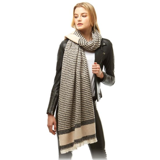cream grey stripes scarf