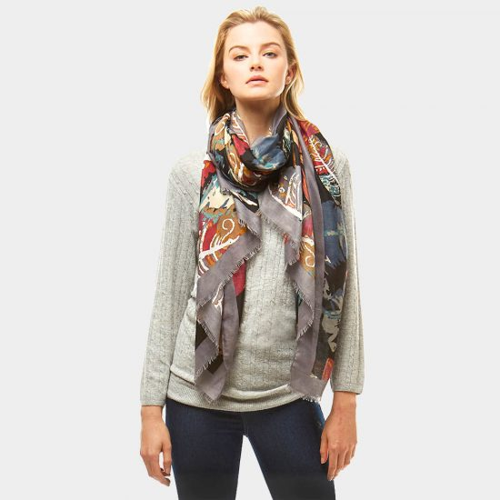 multi-color leave print scarf
