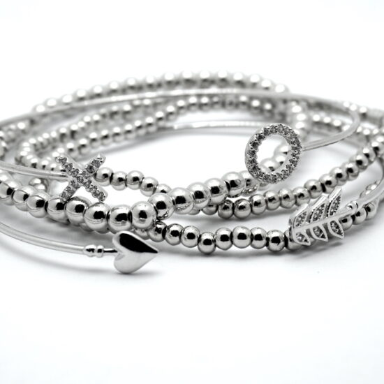 Arm Candy Stack Bracelets in Silver