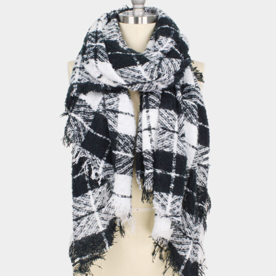 Plaid Bias Oblong Scarf Black and White