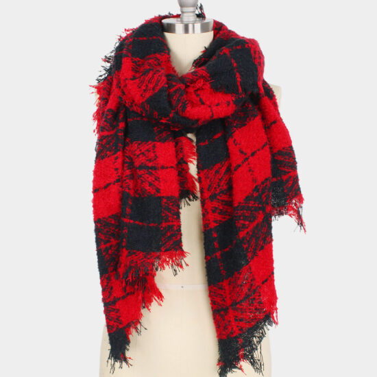 Plaid Bias Oblong Scarf Red and Black