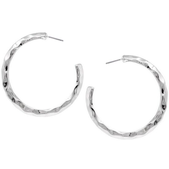 Hammered Hoop Earrings Silver