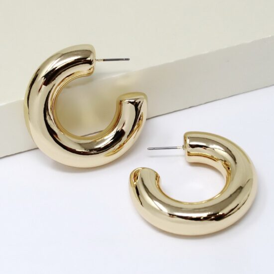 Puffed Hoop Earrings Gold