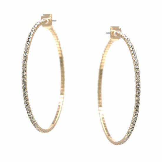 Rhinestone Skinny Hoop Earrings Gold