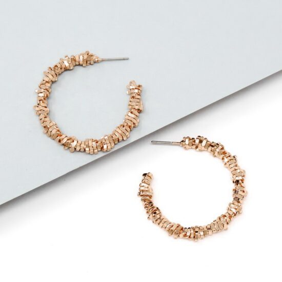 Textured Hoop Earrings Rose Gold
