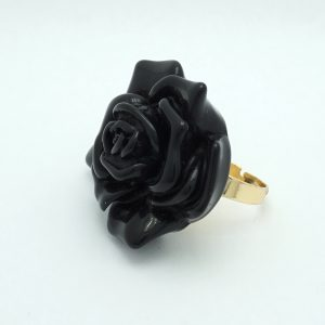 Acrylic Flower Ring in Black Side View 1