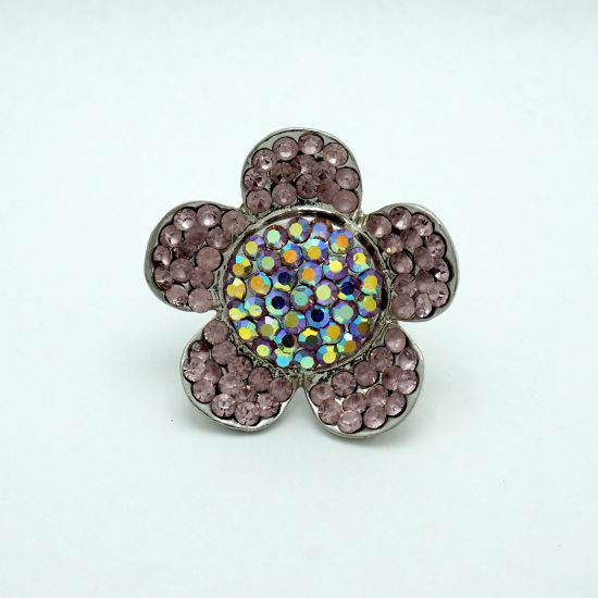 Crystal Daisy Ring in Pink