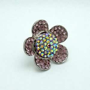 Crystal Daisy Ring in Pink Side View