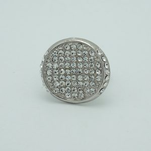 Crystal Disc Ring in Silver
