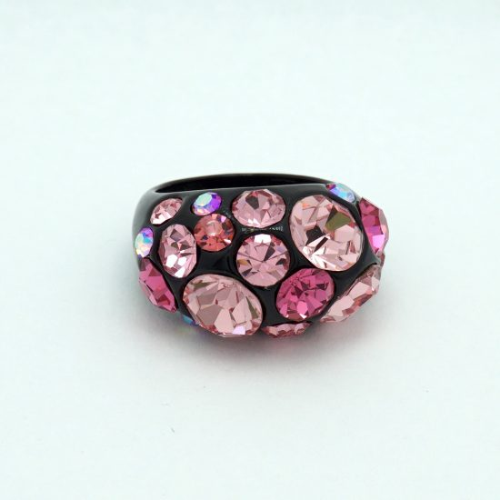 Dome Crystal Ring in Black and Pink