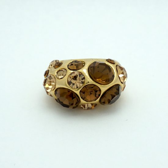 Dome Crystal Ring in Gold and Brown