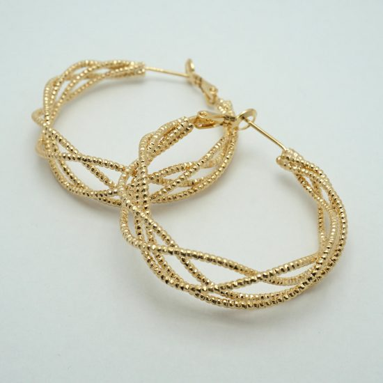Ladder Wrap Hoop Earrings in Gold