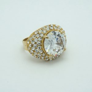Large Stone Crystal Dome Ring in Gold Side View