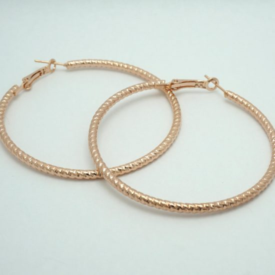 Rope Hoop Earrings in Rose Gold