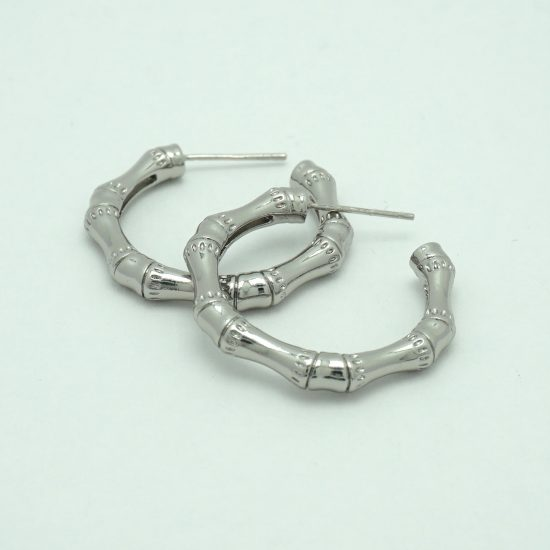 Small Bamboo Hoop Earrings in Silver