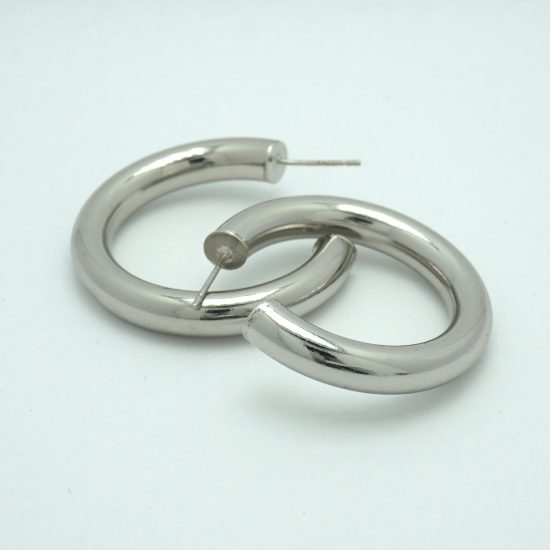 Tubbed Hoop Earrings in Silver