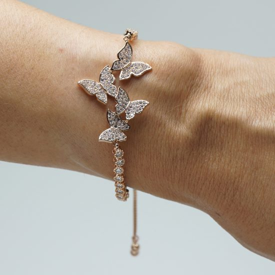 4 Butterfly Bracelet Rose Gold on Wrist