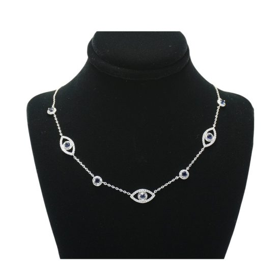 Around The World Evil Eye Necklace in Silver