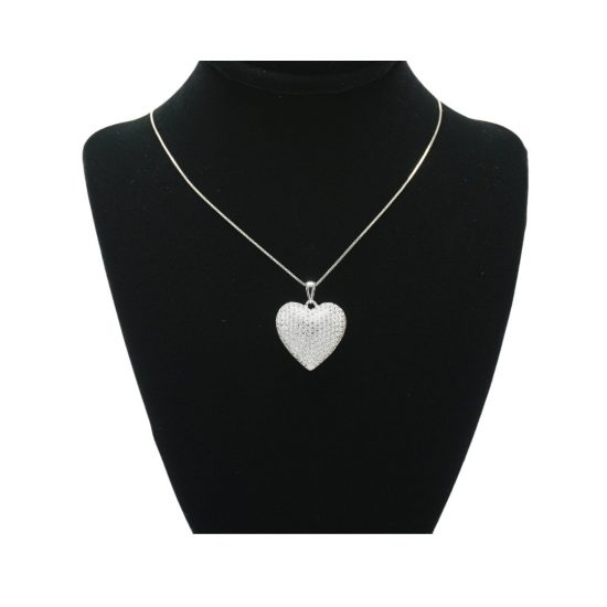 Bubble Heart Necklace in Silver