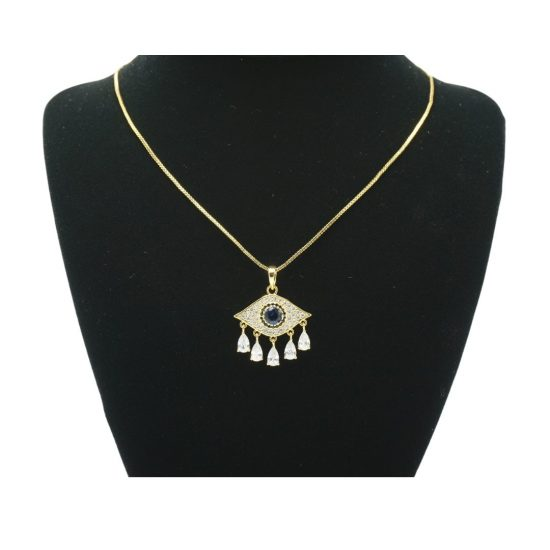 Evil Eye Teardrop Necklace in Gold