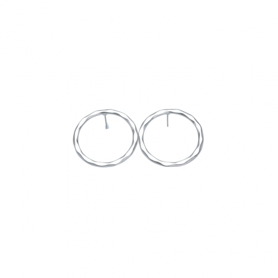 Flat Hoop Earrings in Silver