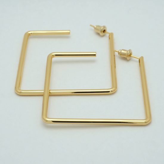 Square Hoop Earrings in Gold