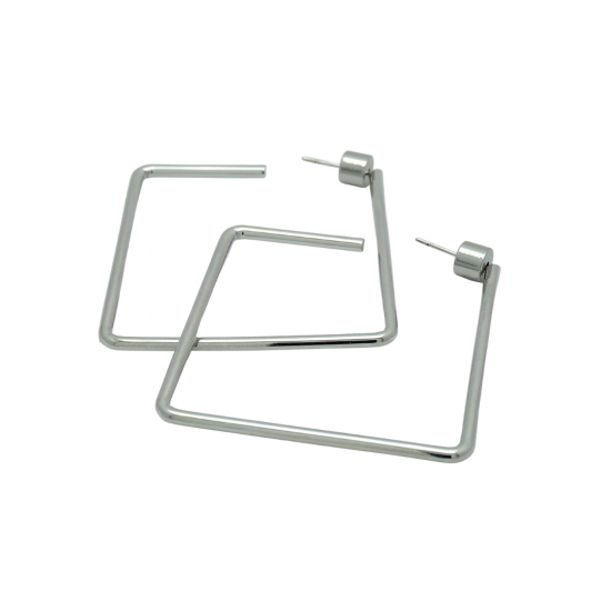 Square Hoop Earrings in Silver