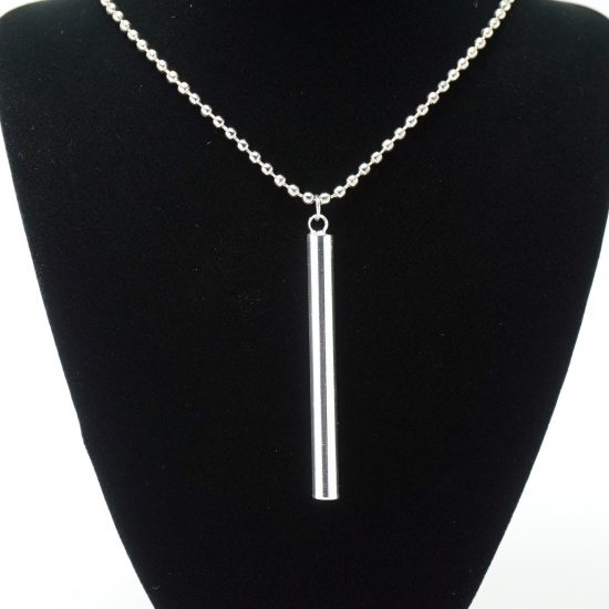 Silver Ball Chain Cylinder Necklace on Stand
