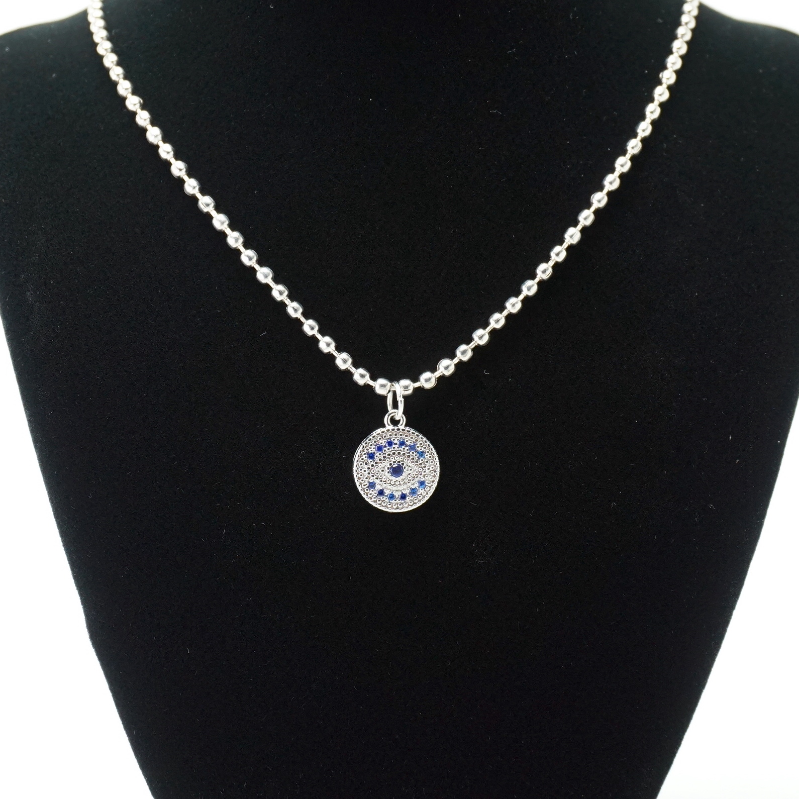 Silver Ball Chain Evil Eye Necklace