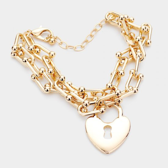 Heart Lock Chain Bracelet in Gold