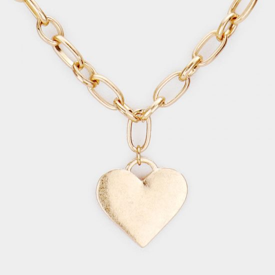 Heart Charm Chain Necklace in Worn Gold