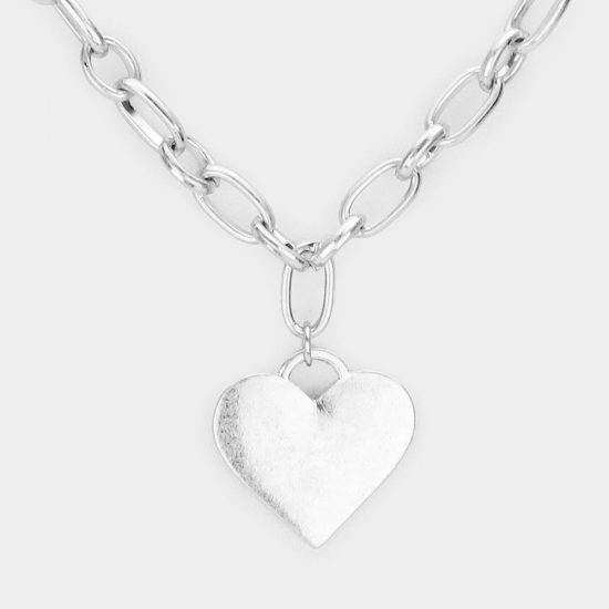 Heart Charm Chain Necklace in Silver