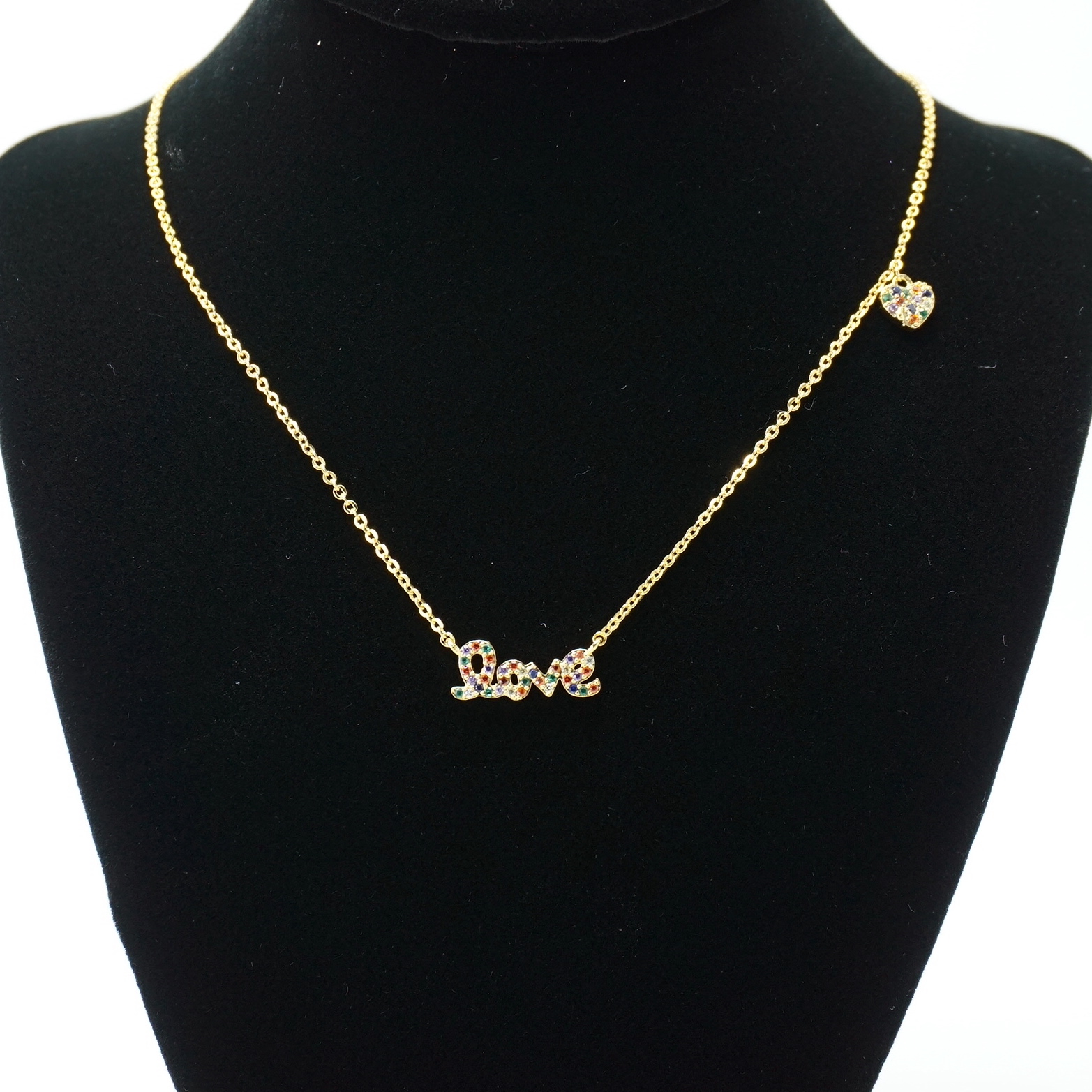 The Love Necklace Gold with Multi Stones on Stand