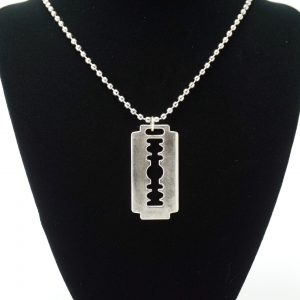 Silver Ball Chain Razor Necklace