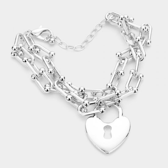Heart Lock Chain Bracelet in Silver